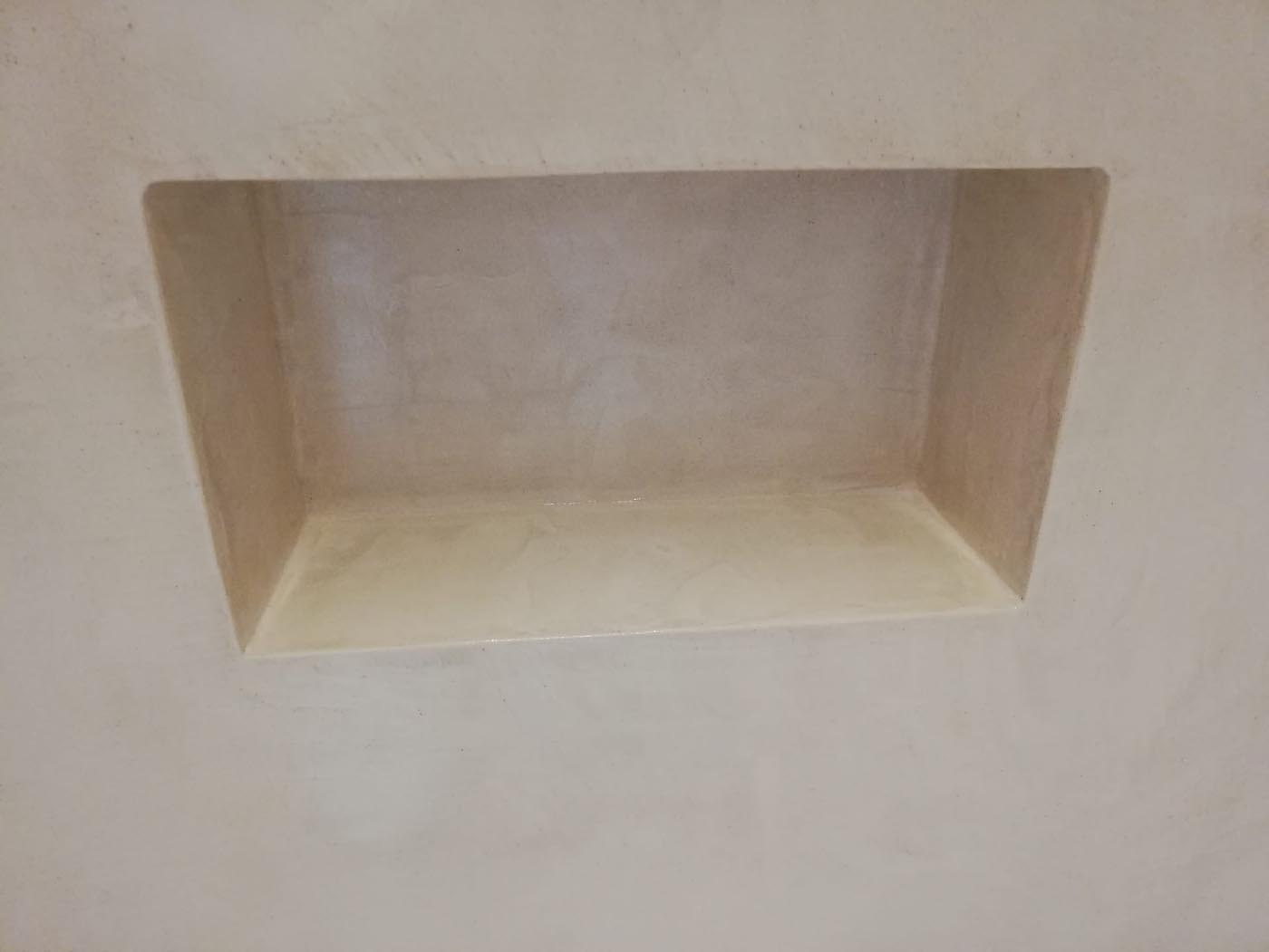 Mortex badkamervloer en wand, inloopdouche, douchenis nieuwbouw Turnhout