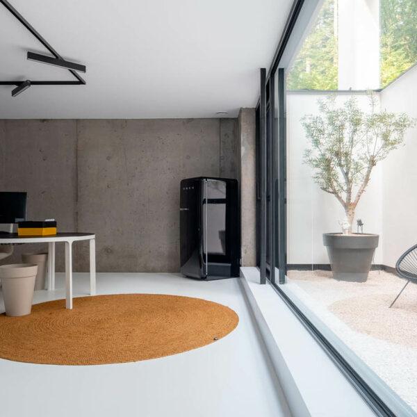 witte PU gietvloer betonwoning nieuwbouw Grobbendonk